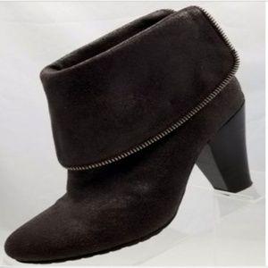 Michael Kors Brown Zip Ankle Boots Chunk Heel 8M